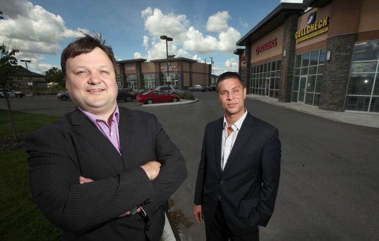 Commercial real estate agents Todd Labelle (left) and Jess Davis, of Avison Young Commercial Real Estate Inc., say the factor limiting development on Pembina Highway isn't competing drawing power from other suburban locations or retail power centres -- it's lack of available space.