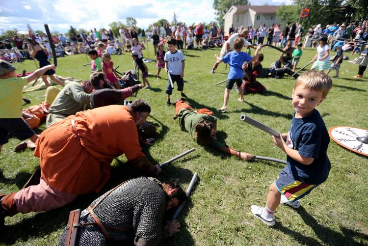 Daniel Stipanovic, 5, seems pretty handy with a pool noodle, as several defeated members of Vikings Vinland lay at his feet after battle.