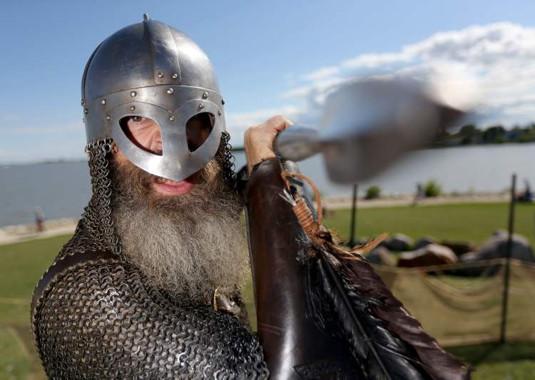 Tracy Stubbert (a.k.a. Grimnir), a member of Vikings Vinland — a group made up of members from across Canada, the U.S. and Europe — stands in the Viking Village at the Icelandic Festival of Manitoba in Gimli.
