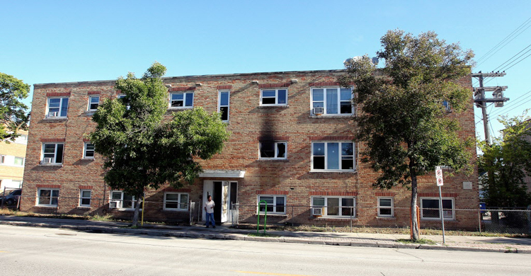An overnight fire occurred in a suite in this apartment block in the 700 block of Ellice Avenue.