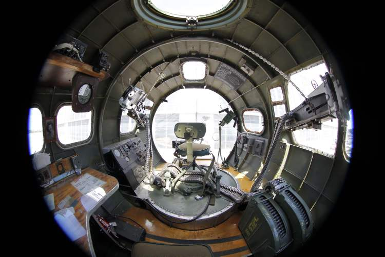 An interior shot of the nose of the plane.