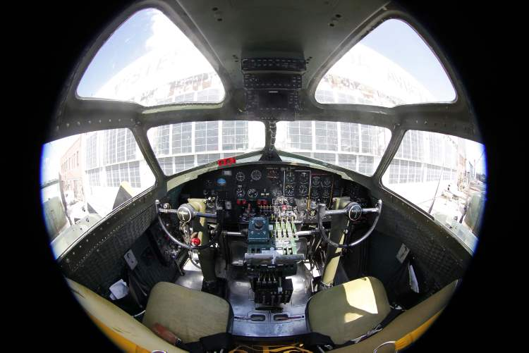 A view of the B-17's cockpit.