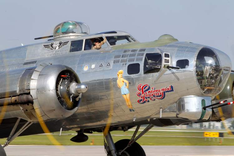 Sentimental Journey's nose art features the likeness of World War II-era pinup Betty Grable.
