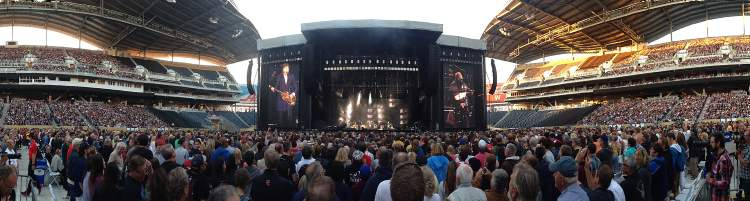 Paul McCartney begins his marathon set at Investors Group Field Monday. (John Woods / Winnipeg Free Press)