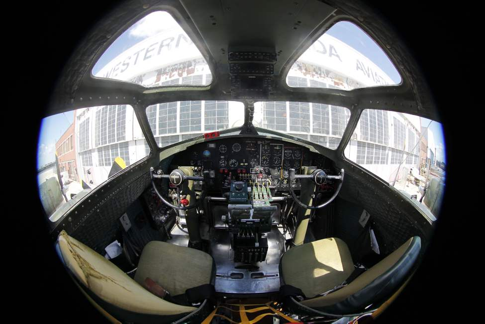 The legendary B-17 bomber is at the Western Canada Aviation Museum this week. Cockpit view. August 12, 2013 BORIS MINKEVICH / WINNIPEG FREE PRESS.