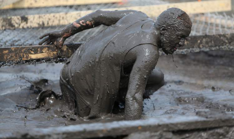 Mud is good for cleansing the skin, right? (TREVOR HAGAN / WINNIPEG FREE PRESS)