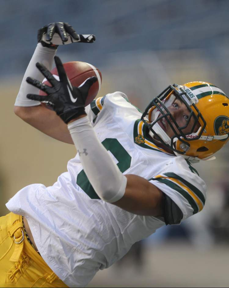 University of Alberta Golden Bears Ryley Richardson drops the ball in the end zone during play.