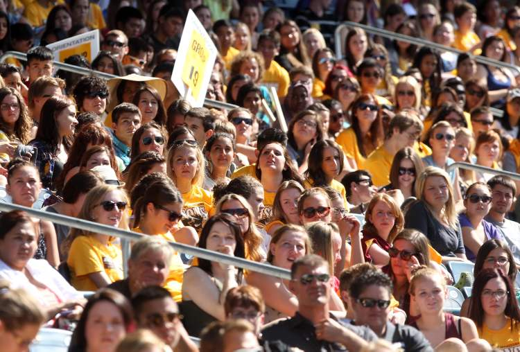University of Manitoba pep rally at Investors Group Field Tuesday afternoon. Hundreds of students packed the stands. (JOE BRYKSA / WINNIPEG FREE PRESS