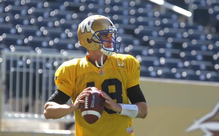 Winnipeg Blue Bomber quarterback Justin Goltz looks to pass during practice. Goltz will start this weekend's Banjo Bowl game at Investors Group Field against the Saskatchewan Roughriders.