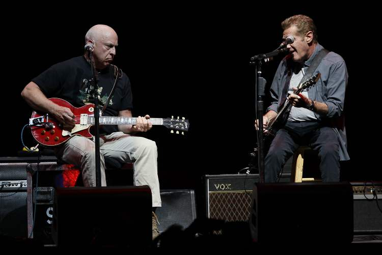 Bernie Leadon (left) and Glenn Frey handle guitar duties. (John Woods / Winnipeg Free Press)