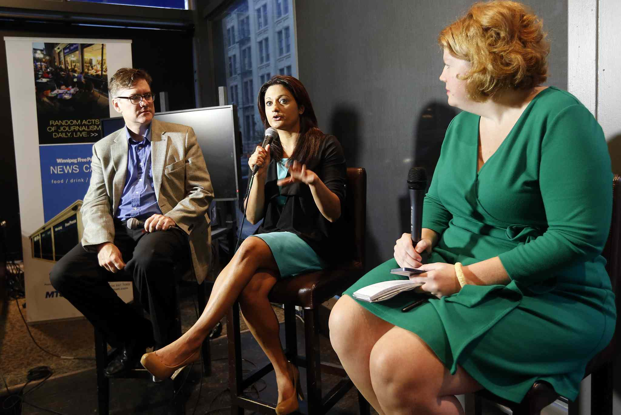 Dougald Lamont (left) and Rana Bokhari (centre) are both running for the Manitoba provincial Liberal Party leadership. Reporter Mary Agnes Welch (right) hosted the debate at the Winnipeg Free Press News Café Thursday morning.