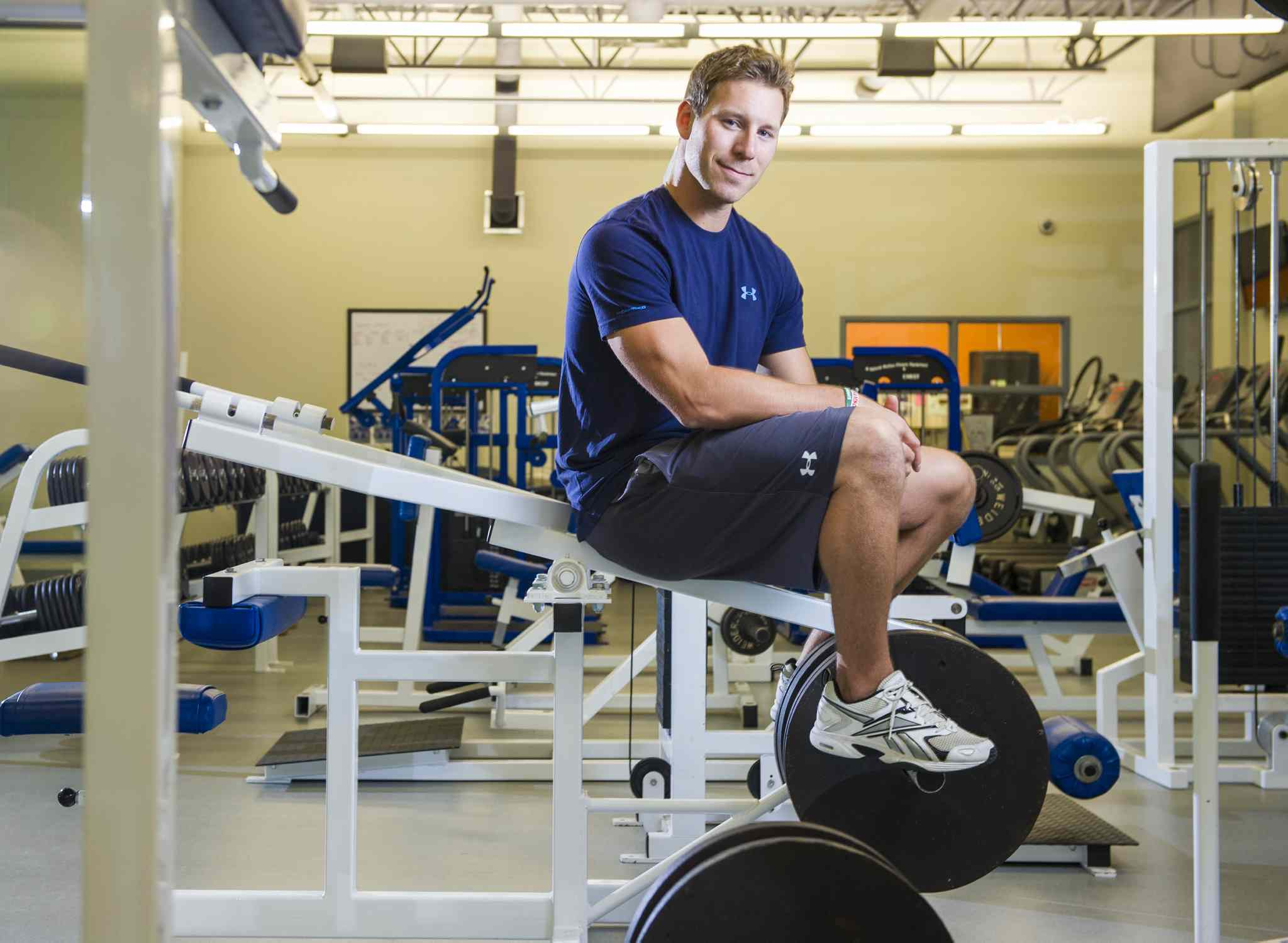 Ryan Dueck, in the Youth For Christ Centre's gym, is travelling to Germany to undergo surgery to repair an injury that has left him in constant pain and promises to get worse without treatment.