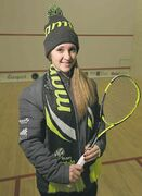 Squash player Jessica Buchel models Team Manitoba outerwear, produced by Mondetta Clothing Co.
