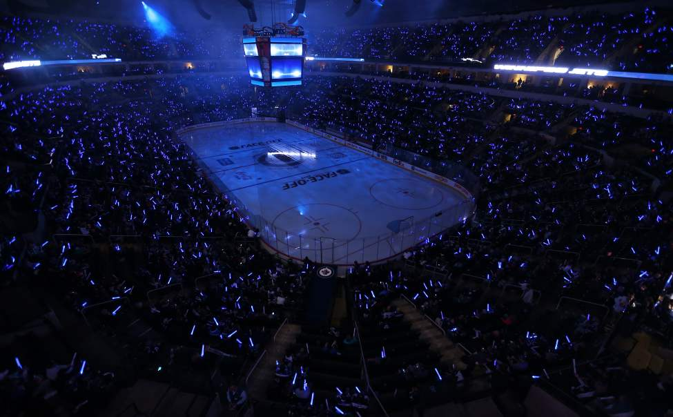 Prior to opening faceoff. (TREVOR HAGAN / WINNIPEG FREE PRESS)