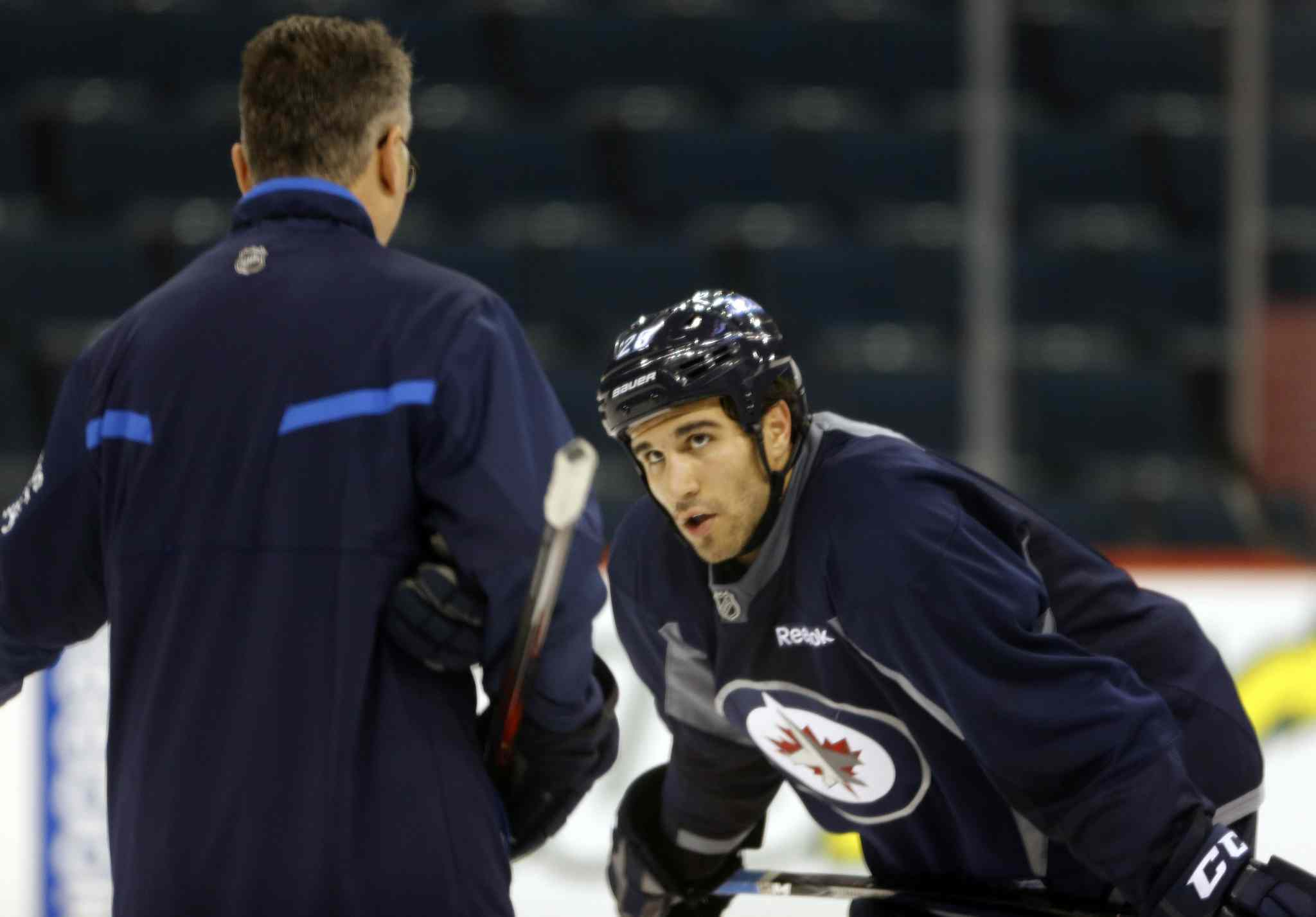 Head coach Claude Noel works with  recalled IceCap  Patrice Cormier Thursday. Noel has been juggling lines in a bid to spark the Jets to life, but may need to start taking more drastic  measures.