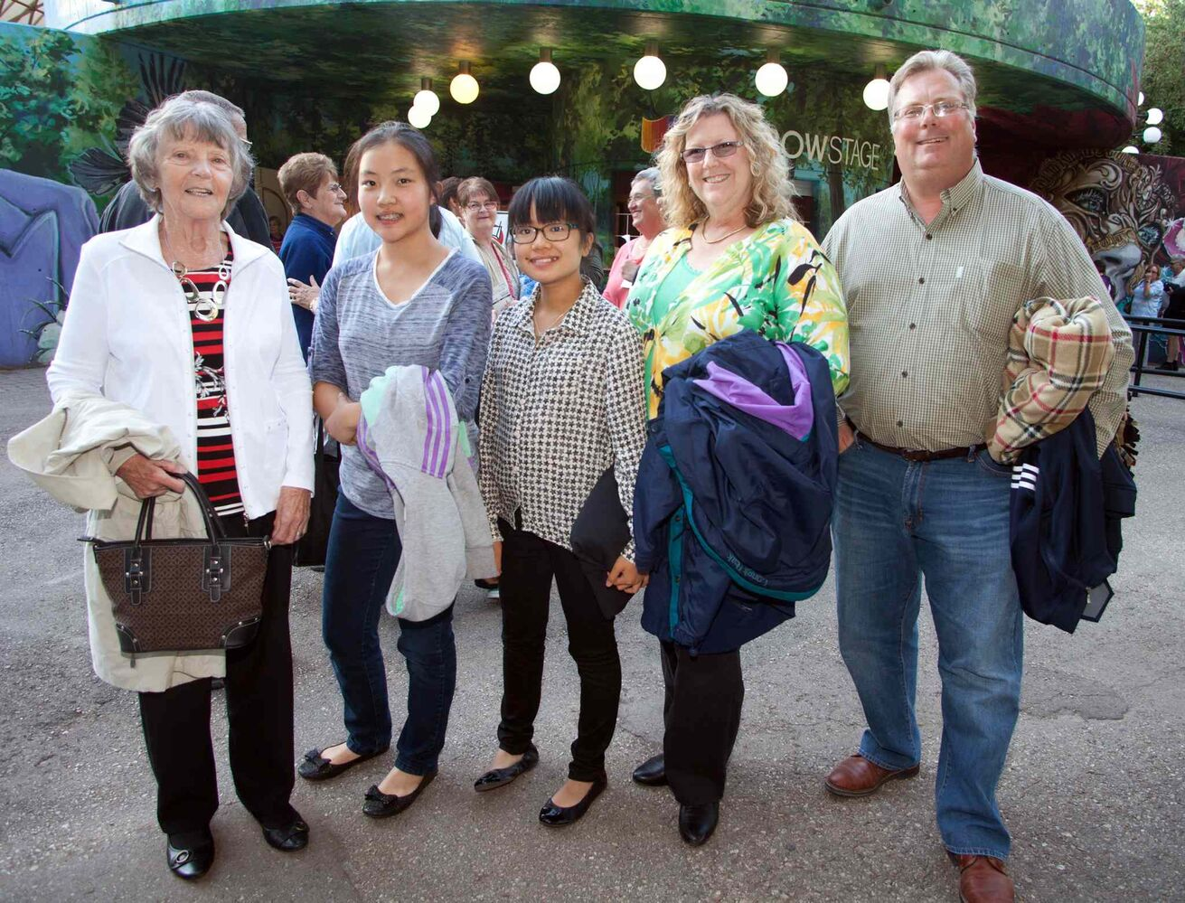 Sister Act, based on the 1992 Whoopi Goldberg movie, is at Rainbow Stage until Sept. 1, 2015. Taking in the show were Gail Smith (from left), Hannah Wei, Lauren McIlroy, Cheryl Smith and Jim McIlroy.  (JOHN JOHNSTON / WINNIPEG FREE PRESS)