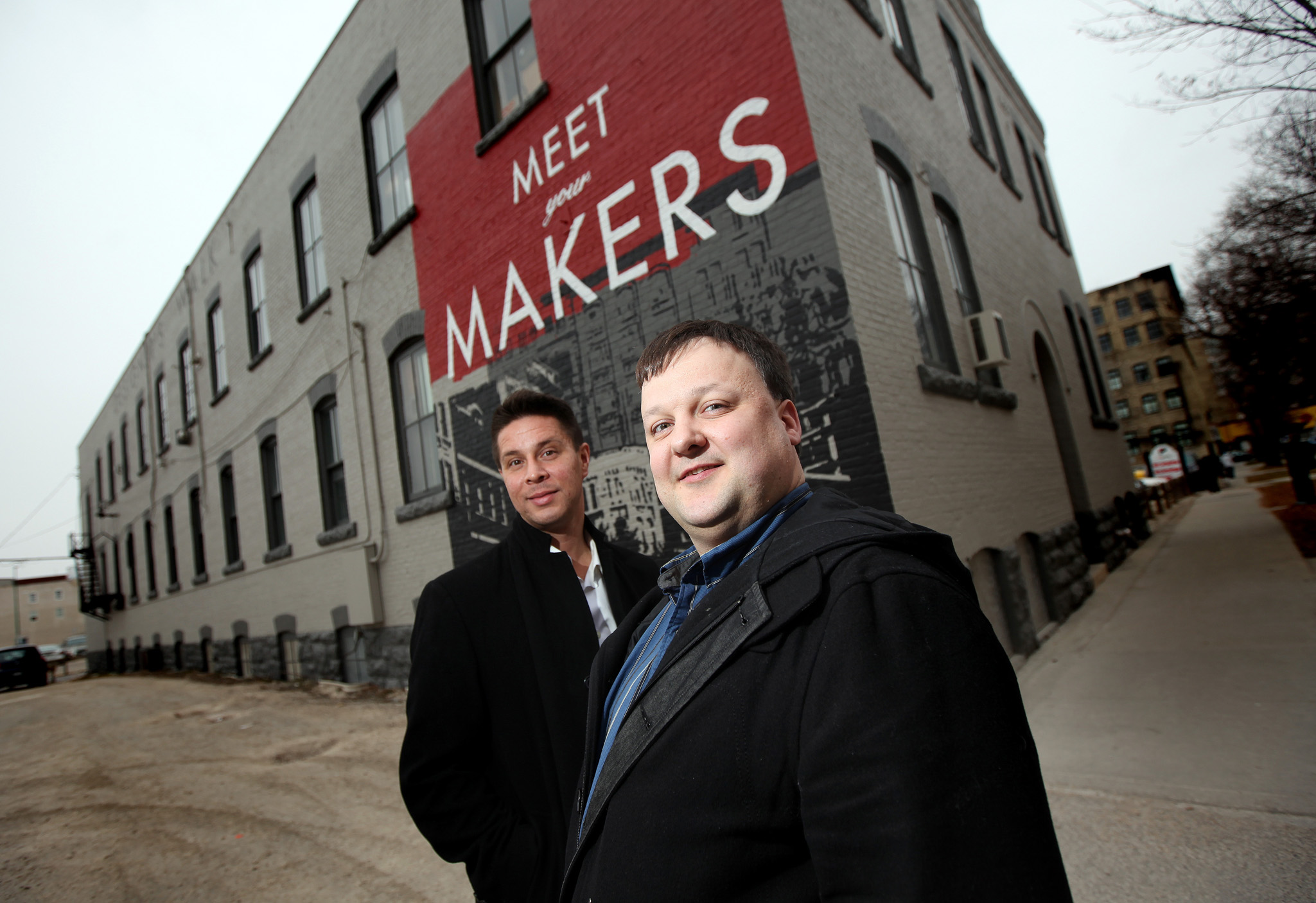 Avison Young Winnipeg's Jess Davis (left) and Todd LaBelle hope the upgrades to the Designer's Walk building will attract a new tenant for the ground floor.