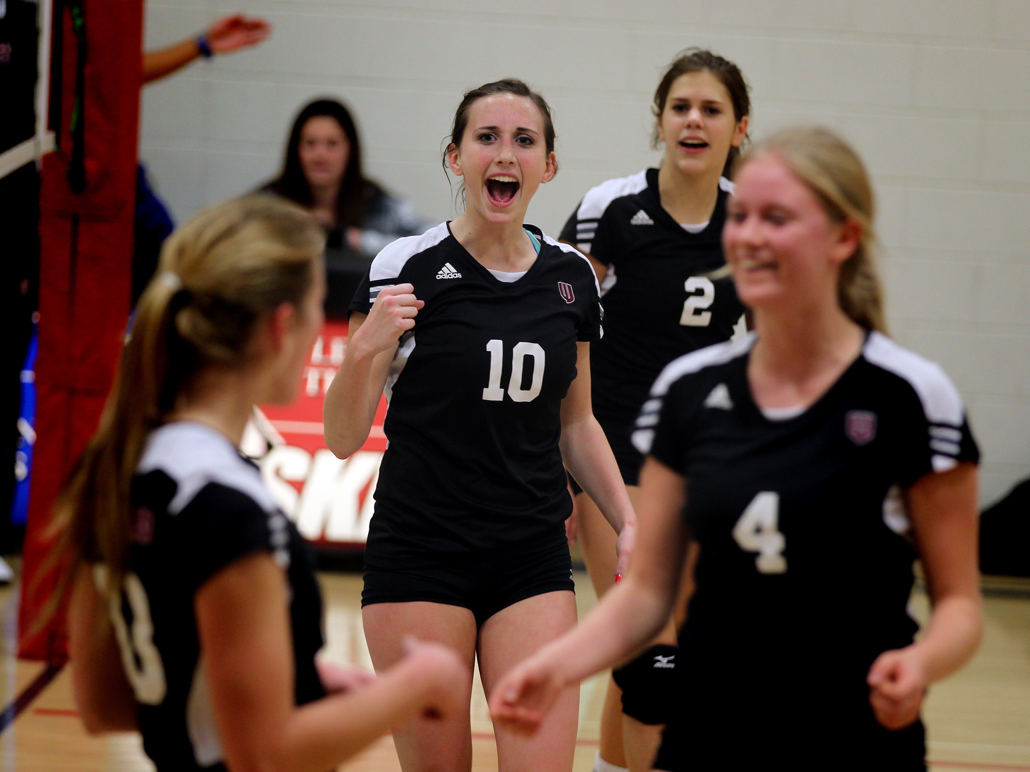 Katie Hamm (10) celebrates a point.