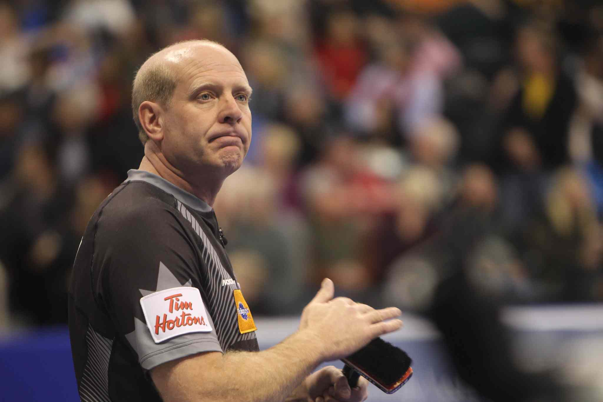 Skip Kevin Martin has little to smile about after losing 7-5 to former teammate John Morris in the Roar of the Rings Olympic curling trials men's semifinal at the MTS Centre Saturday.
