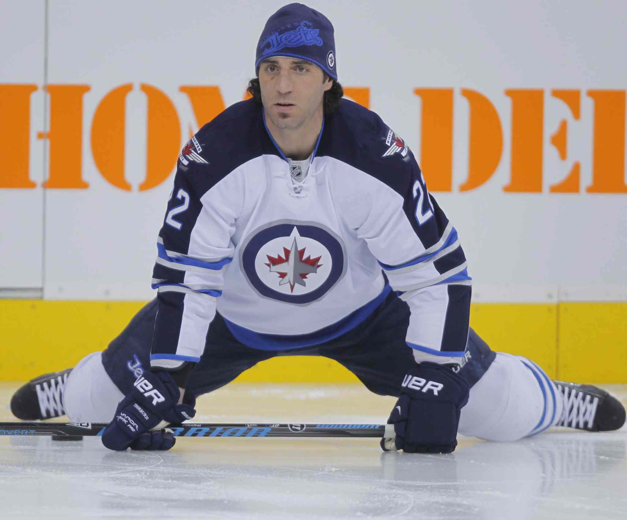 Chris Thorburn stretches.