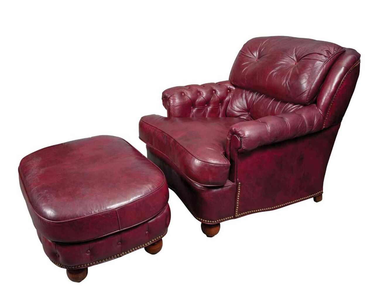 This burgundy leather club chair and ottoman, which once belonged to former New York City mayor Ed Koch, looks very comfortable and would be a wonderful place in which someone such as Ron Burgundy could relax after looking through this exciting slide show.