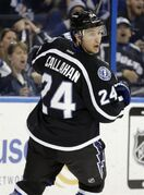 Tampa Bay Lightning right wing Ryan Callahan (24) looks back in disbelief after getting robbed by Columbus Blue Jackets goalie Curtis McElhinney on a breakaway during the second period of an NHL hockey game Saturday, Jan. 31, 2015, in Tampa, Fla. (AP Photo/Chris O'Meara)