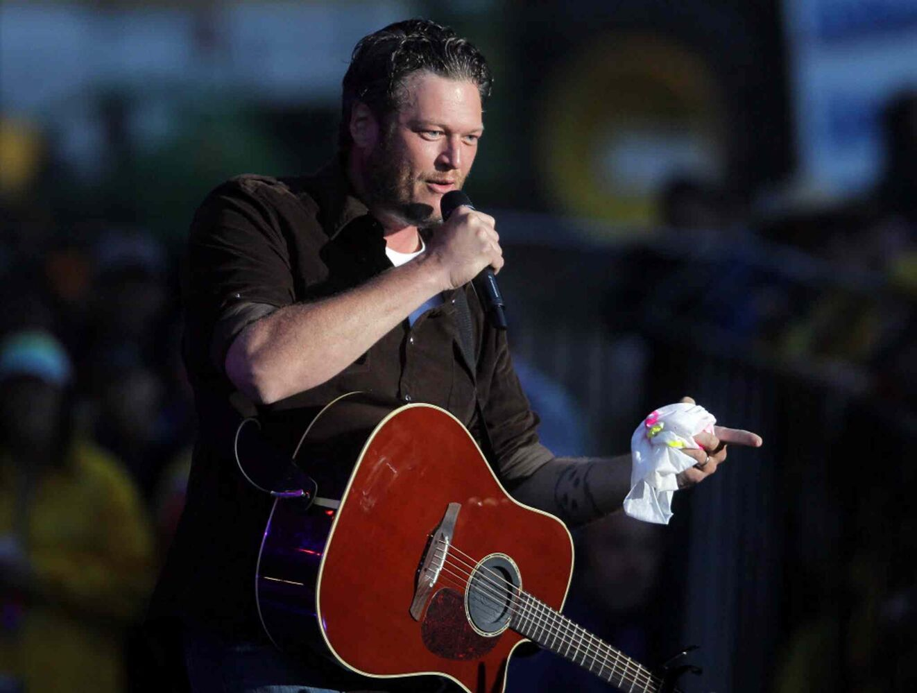 Blake Shelton performs as the festival's Saturday night headliner.