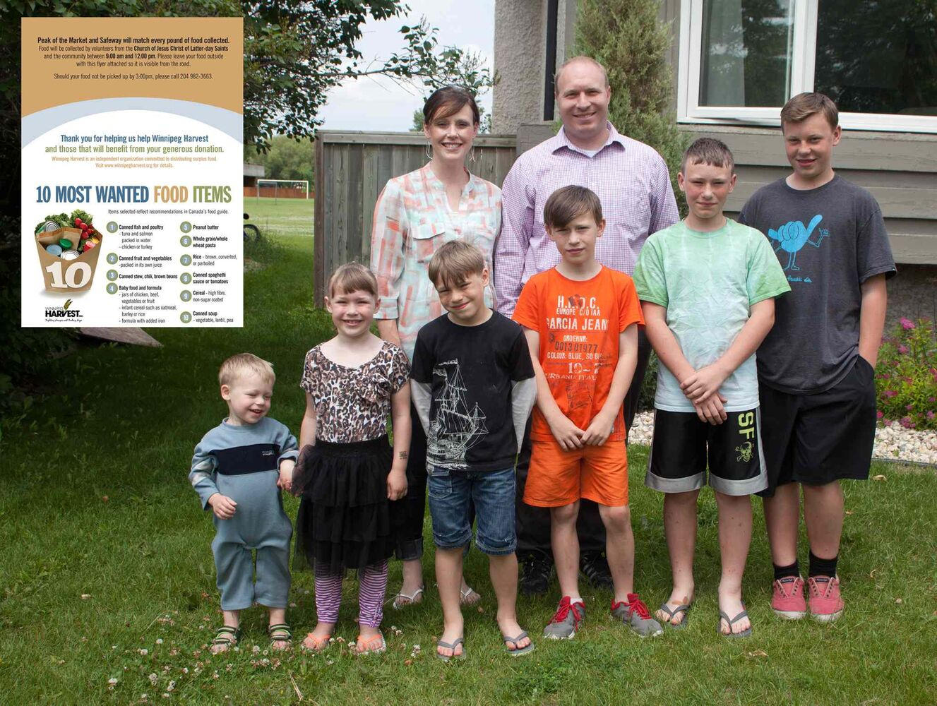 The 10th annual Latter-day Saints Summer Food Drive kicks off Saturday, June 18, 2015. Volunteers will be dropping off a flyer listing Winnipeg Harvest's 10 most-needed items during the lean summer months. Pictured, from left, are Jill and Josh Gruninger with their children, Corbin, Britain, Gavin, Benson, Jaxon and Ethan.