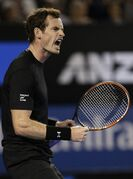 Andy Murray of Britain celebrates a point won against Nick Kyrgios of Australia during their quarterfinal match at the Australian Open tennis championship in Melbourne, Australia, Tuesday, Jan. 27, 2015. (AP Photo/Bernat Armangue)