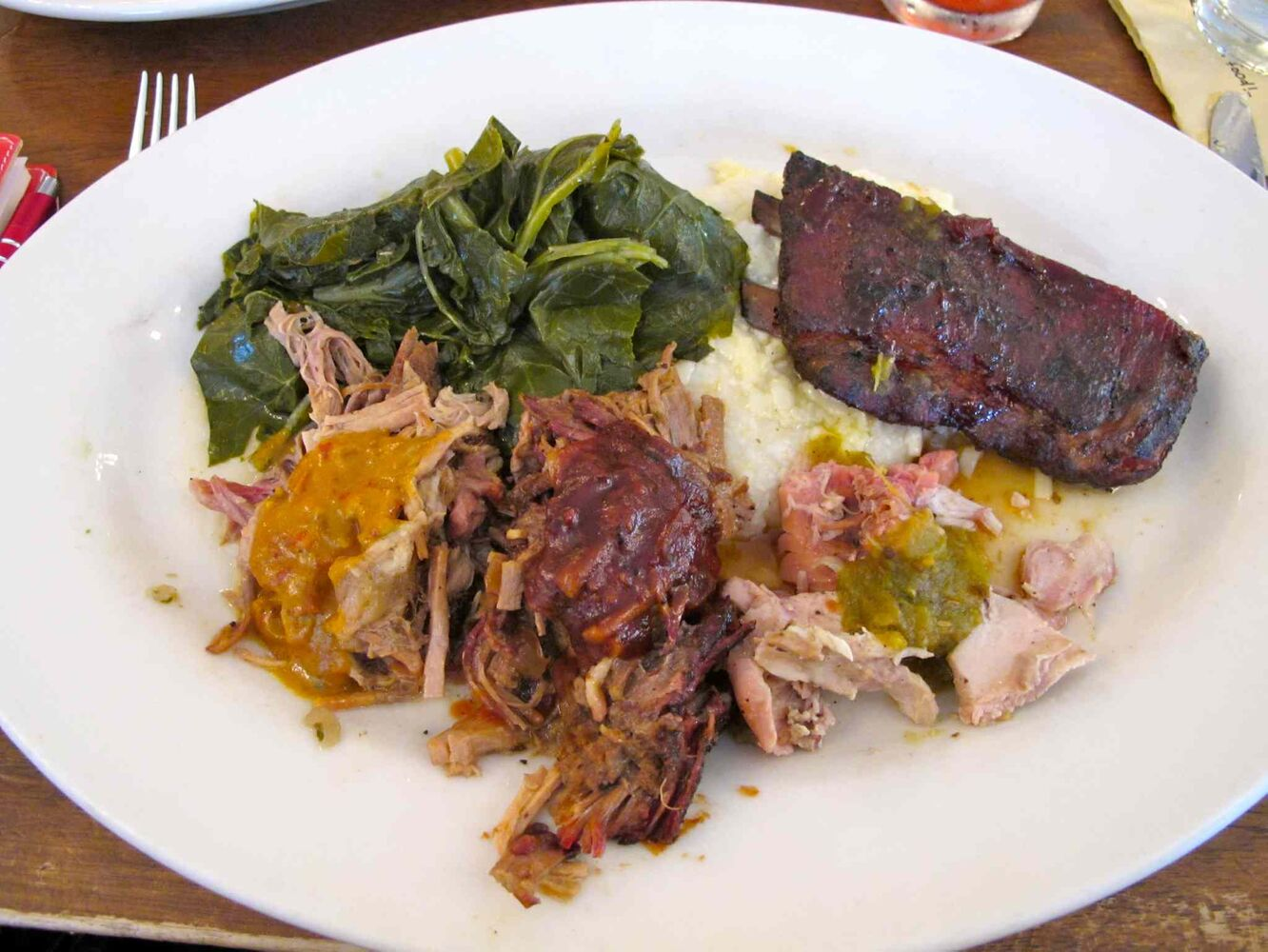 Barbecue tasting menu at Zingerman's Roadhouse.