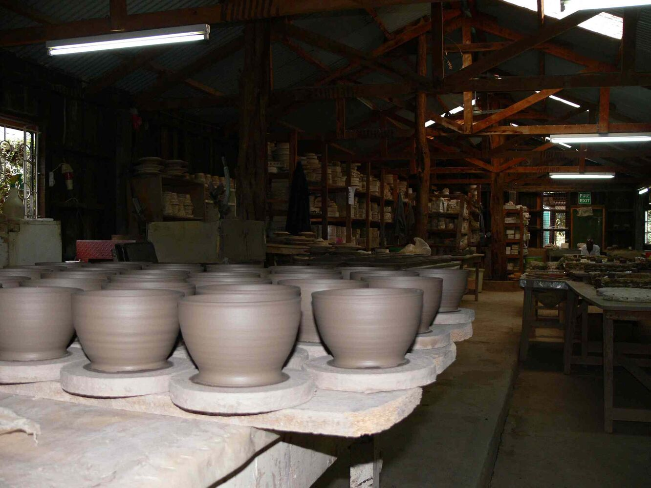 Clay bowls dry at Kazuri. The beautiful things they make are sold around the world - including Winnipeg where their products are sold at the Ten Thousand Villages stores.
