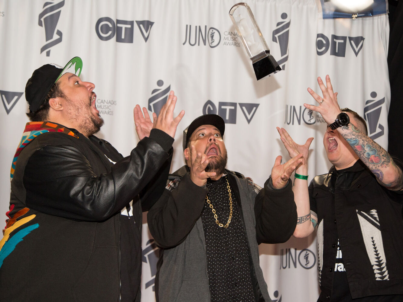 A Tribe Called Red receives the 2014 JUNO for Breakthrough Group of the Year. (Crystal Schick)