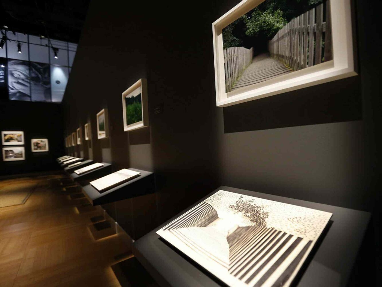 Rosita McKenzie photographs and Camilla Adams raised ink illustrations are on display at the Canadian Museum for Human Rights as they open a new exhibition, Sight Unseen: International Photography by Blind Artists. (JOHN WOODS / The Canadian Press)