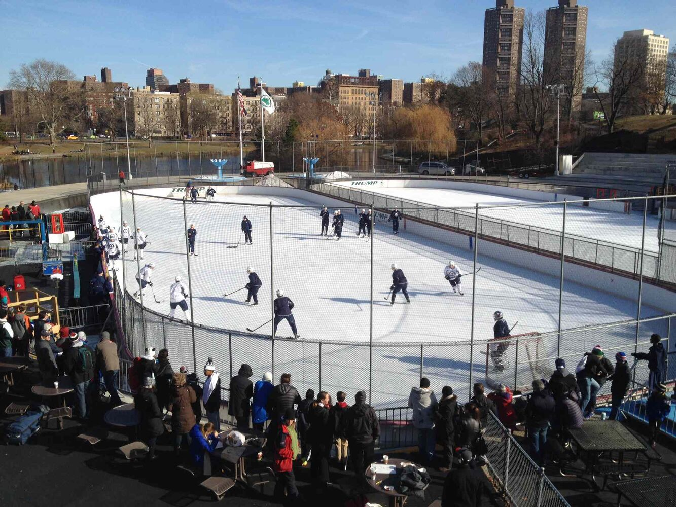 The Manhattan skyline can be seen in the background as the Jets practise in Central Park.