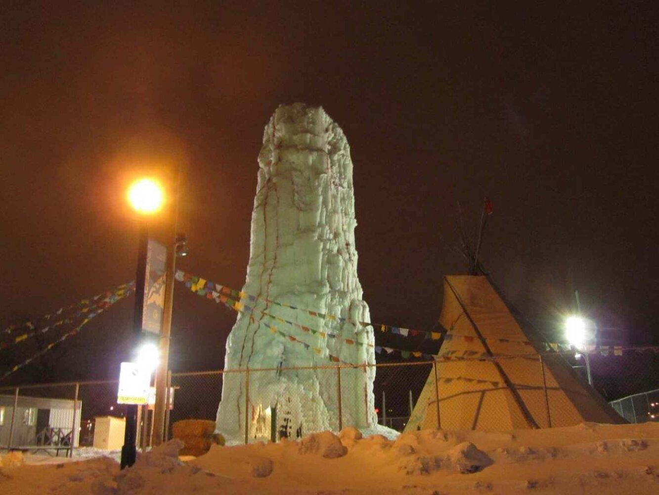 The ice tower at Festival du Voyageur. (Marie LeBlanc / CNC)
