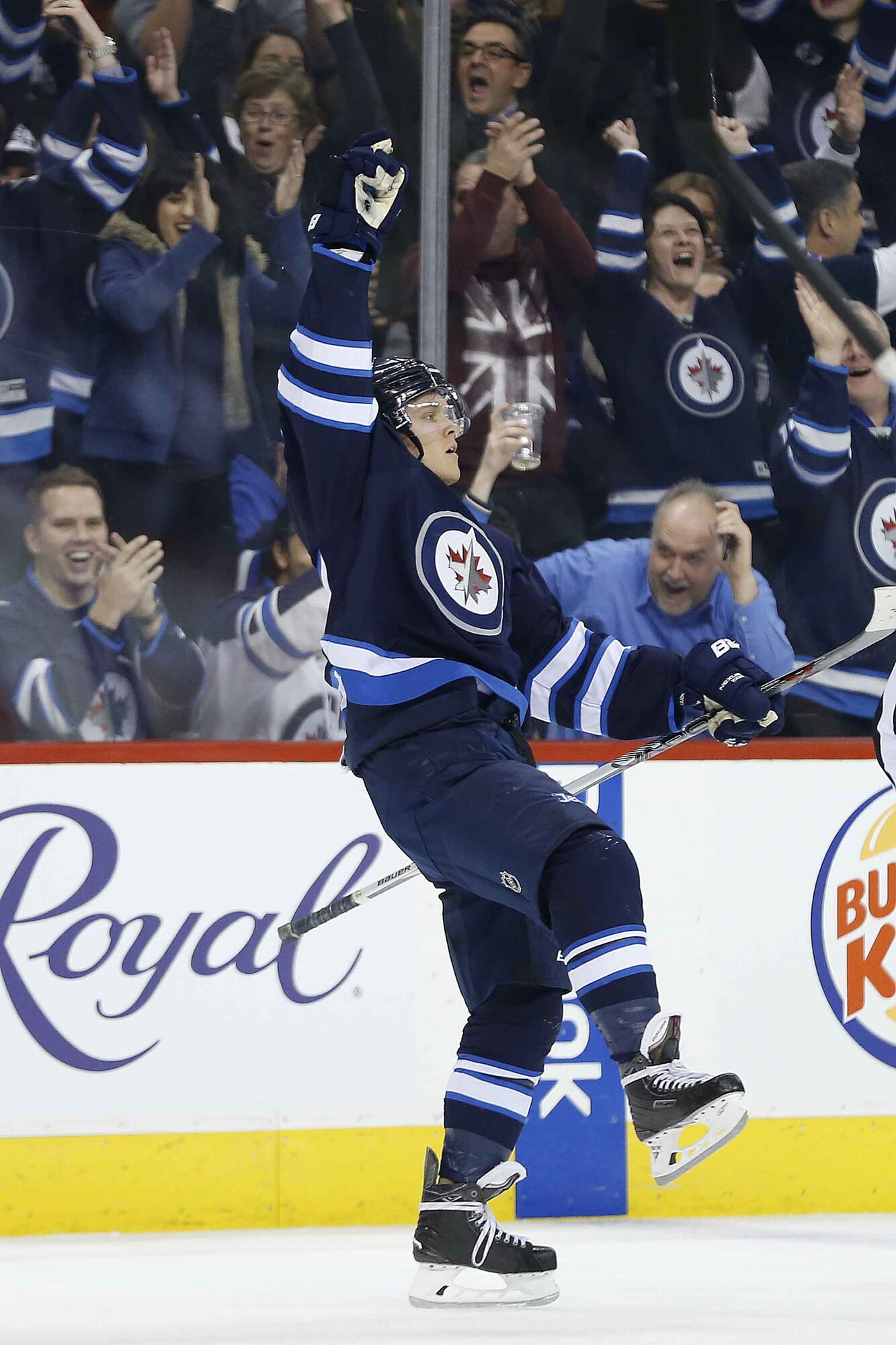 Ehlers celebrates his first NHL hat-trick in January 2016.