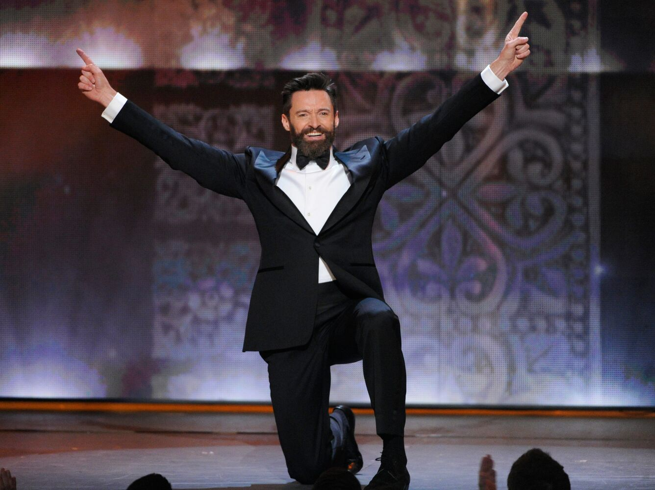 Host Hugh Jackman performs onstage at the 68th annual Tony Awards at Radio City Music Hall on Sunday, June 8, 2014, in New York. (Evan Agostini / The Associated Press)