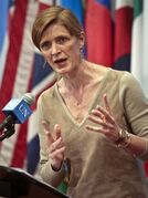 File-This Feb. 28, 2014, file photo shows Samantha Power, U.S. Ambassador to the U.N., speaking during a news conference after a private U.N. Security Council meeting. Power is going to visit all three of the West African countries hit hardest by the Ebola outbreak. A statement released late Saturday, Oct. 25, 2014, by the U.S. mission to the U.N. says Samantha Power will visit Liberia, Sierra Leone and Guinea
