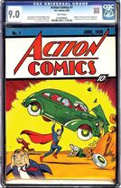 This 2014 photo provided by e-Bay shows a rare, nearly flawless copy of Superman's comic-book debut which has sold for $3.2 million. Created by Cleveland teenagers Jerry Siegel and Joe Shuster, Action Comics No. 1 introduces the Man of Steel's Kryptonian backstory, earthly role as reporter Clark Kent and identity as a champion of the oppressed. About 100 to 150 copies are believed to exist, only a handful of them in top condition. The book just sold got a seldom-seen 9.0 on a 10-point scale used to measure vintage comic books' condition. (AP Photo/eBay)