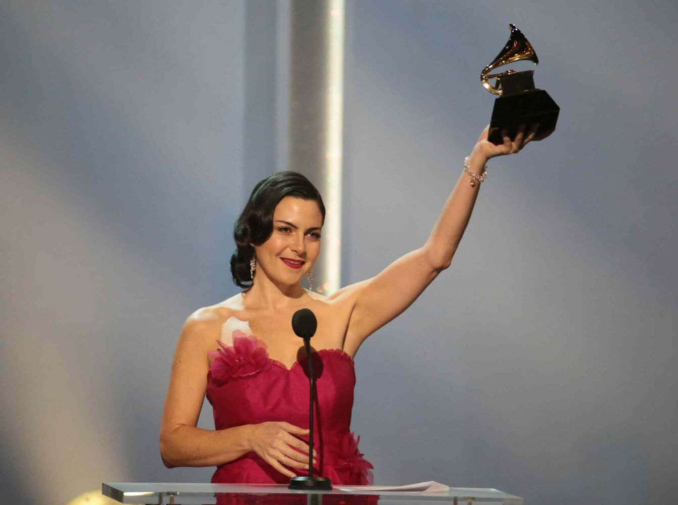 Jennifer Gasoi accepts the Grammy for Best Children's Album at the 56th Annual Grammy Awards. (Robert Gauthier / Los Angeles Times / MCT)