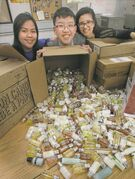 Grade 11 Sisler students (from left) Mae Anne Bathan, Calvin Loi and Ashley Amaral with more than 3,500 personal-hygiene products for the homeless.