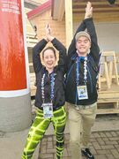 Manitoba synchro swimmer Kayla McMurchy (left) and Alberta trampoline athlete Brody Atkin ham it up.