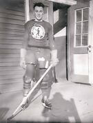 Capt. Cliff Chadderton, shown here in the uniform of the Royal Winnipeg Rifles hockey team during the Second World War, played junior hockey in Winnipeg prior to joining the army. He later became chief executive officer of The War Amps.