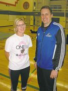 Nicole Yarjau (left) and Cam Johnson pictured at volleyball practice at Collège Jeanne-Sauvé recently.