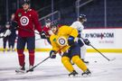 Little joins teammates on ice, shows off speed