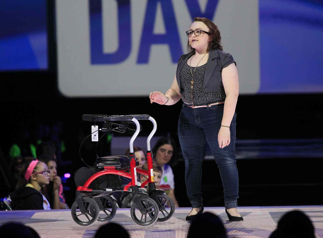 Local student Megan Fultz, a recipient of Canada's Annual Top 20 Under 20 award, speaks at We Day.