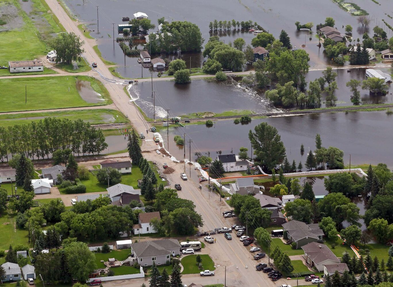 The town of Reston is seen Monday afternoon after heavy weekend rainfall left a swath of flood damage across southwestern Manitoba.