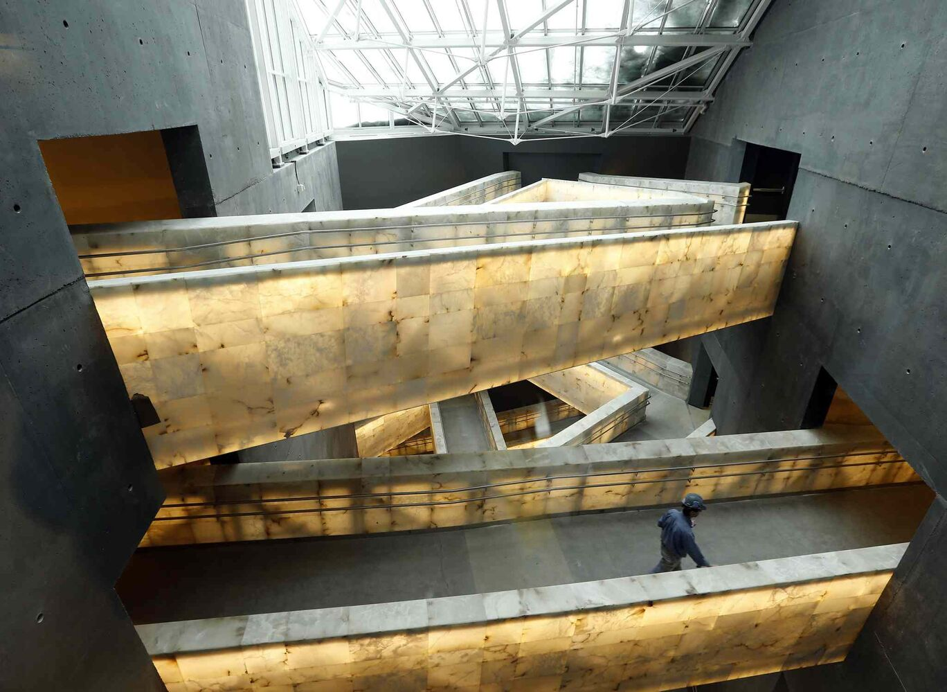 LED-lit alabaster tile walkways on the third Level Canadian Gallery, where historical re-enactments  will take place.