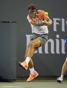 Rafael Nadal, of Spain, returns a shot to Radek Stepanek, of the Czech Republic, during their match at the BNP Paribas Open tennis tournament, Saturday, March 8, 2014, in Indian Wells, Calif. (AP Photo/Mark J. Terrill)