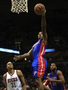 Detroit Pistons guard Brandon Jennings (7) goes up for a layup against the Milwaukee Bucks during the first half of an NBA basketball game Saturday, Jan. 24, 2015, in Milwaukee. (AP Photo/Darren Hauck)